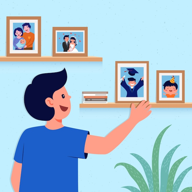 Happy man looking at pictures on the wall Free Vector