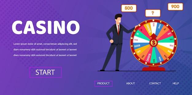 Happy man near spin wheel fortune illustration Premium Vector