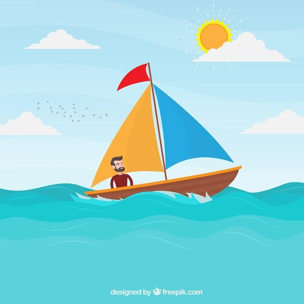Счастливый человек на фоне его лодки Бесплатные векторы