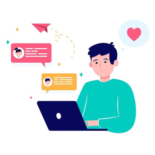 Incontri online uomo felice tramite laptop Vettore gratuito