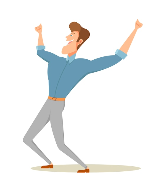Happy man raising arms. Premium Vector
