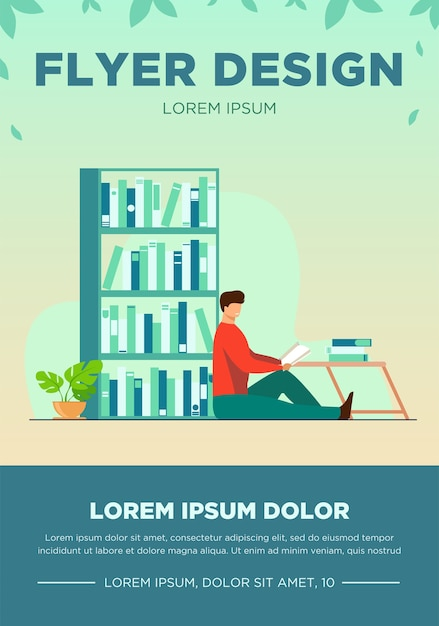 Happy man reading book in home library. relaxation, table, shelf flat vector illustration. hobby and entertainment concept for banner, website design or landing web page Free Vector