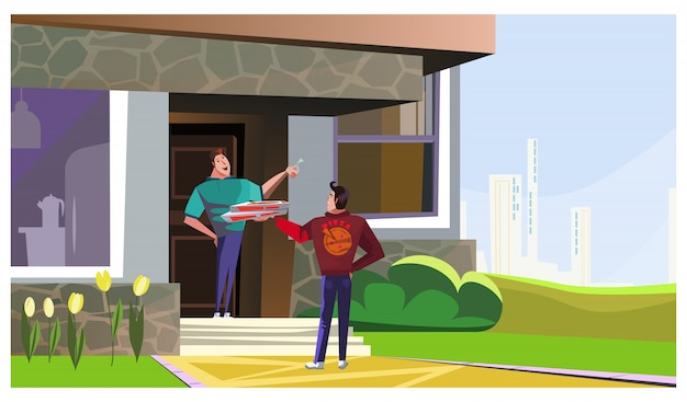 Happy man receiving pizza from delivery guy illustration Free Vector