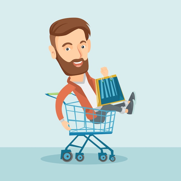 Happy man riding in shopping trolley. Premium Vector