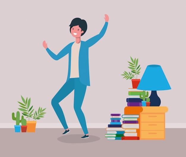Happy man in study room Free Vector