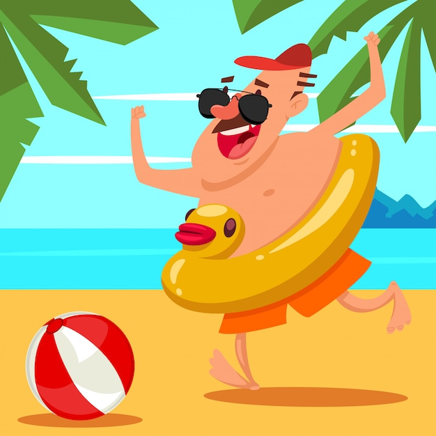Happy man in sunglasses with an inflatable rubber duck and a ball on the beach. cartoon summer illustration. Premium Vector