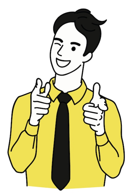 Happy man winking and pointing at you Premium Vector