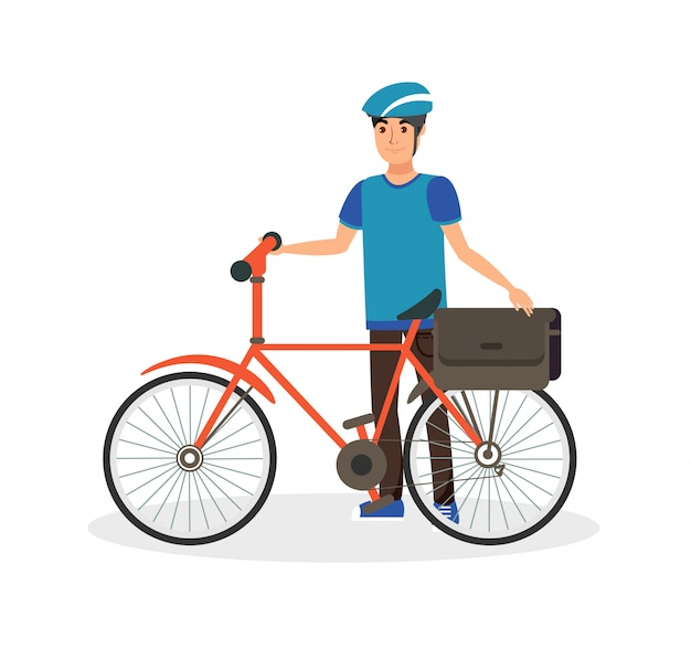 Happy man with bicycle flat vector illustration Premium Vector