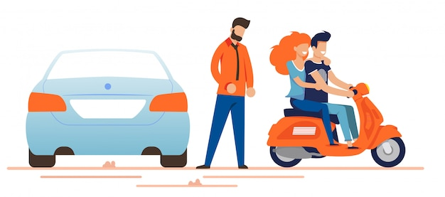 Happy man and woman driving moped near car owner Premium Vector