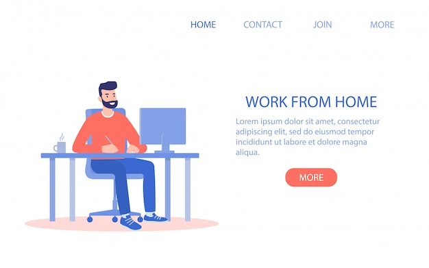 Happy man working from home at the computer Premium Vector