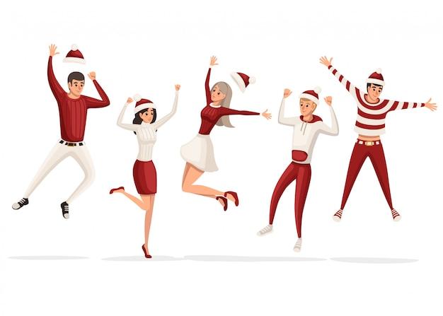 幸せな男性と女性のジャンプは、幸せな新年を祝います。赤と白の服、クリスマス衣装。楽しい人を持っています。白い背景の上の図 Premiumベクター