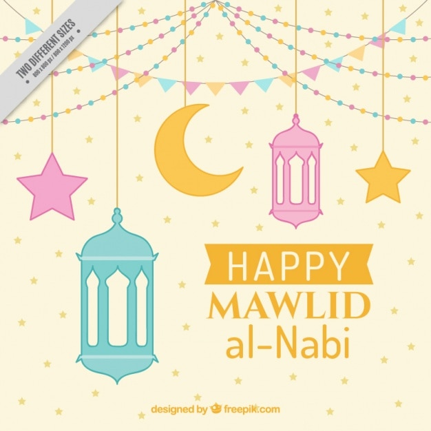 Happy mawlid background with decorative lanterns Free Vector