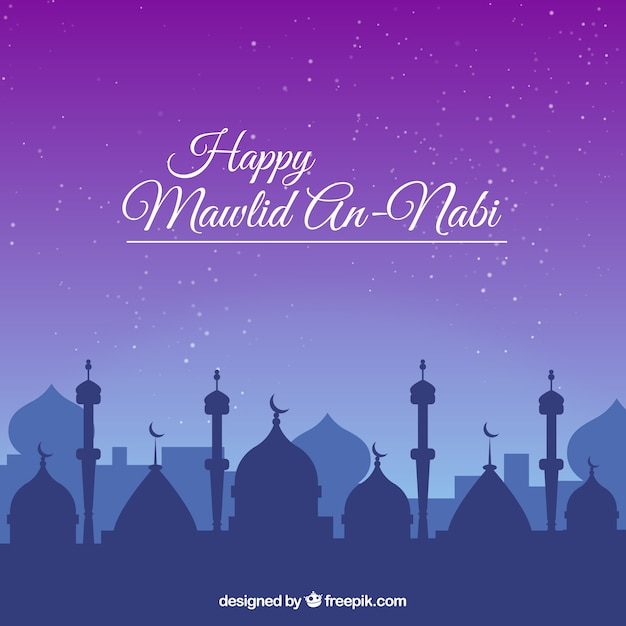 Happy mawlid mosque background Free Vector