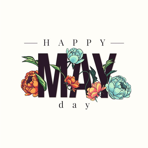 Happy may day background with hand drawn flowers   Free Vector