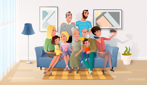 Happy members of big family gathered together Premium Vector