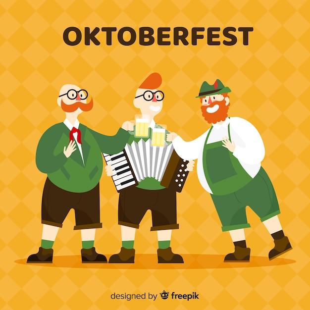 Happy men celebrating oktoberfest with flat design Free Vector