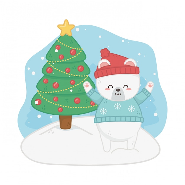 Happy merry christmas card with bear teddy and pine Premium Vector