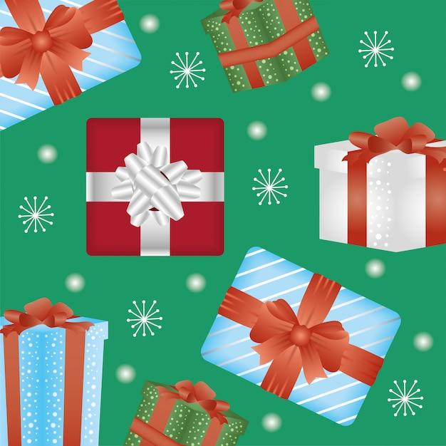 ギフトパターンとハッピーメリークリスマスカード 無料ベクター
