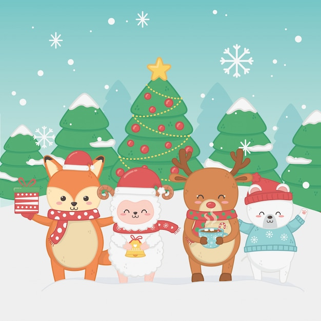 Happy merry christmas card with group of animals Premium Vector