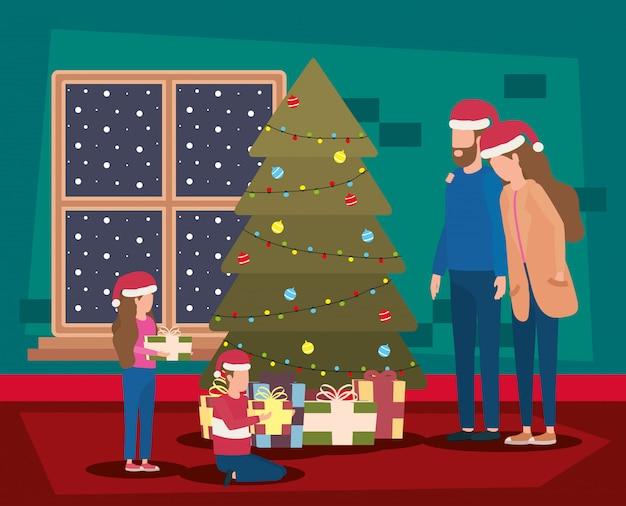 소나무와 함께 축하 해피 메리 크리스마스 가족 프리미엄 벡터