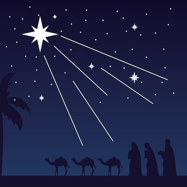 ギャジックな王とラクダとの幸せなメリークリスマス飼い葉桶のシーン。 Premiumベクター