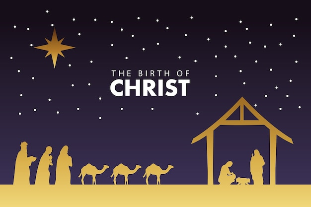 Счастливого рождества, сцена в яслях с золотой святой семьей и иллюстрацией волшебных королей Premium векторы