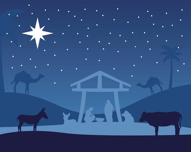 안정과 동물 밤 그림에서 거룩한 가족과 함께 행복 한 메리 크리스마스 관리자 장면 프리미엄 벡터