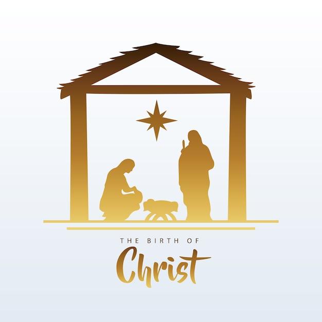 안정적인 실루엣 그림에서 거룩한 가족과 함께 행복 한 메리 크리스마스 관리자 장면 프리미엄 벡터