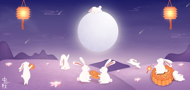 Happy mid autumn festival. chinese translation: mid autumn festival. chinese mid autumn. Premium Vector