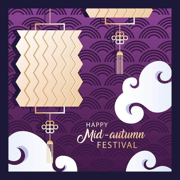 Happy mid autumn festival or moon festival with lantern Premium Vector