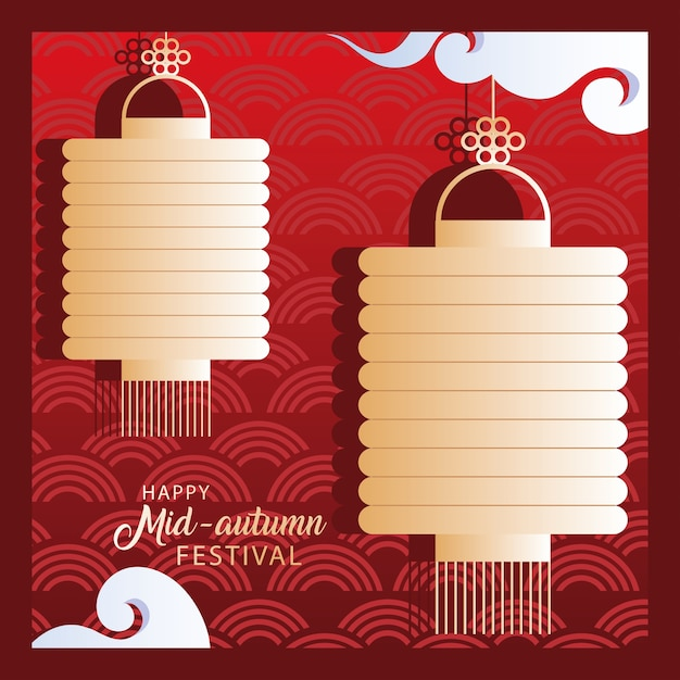Happy mid autumn festival or moon festival with lanterns and clouds Premium Vector