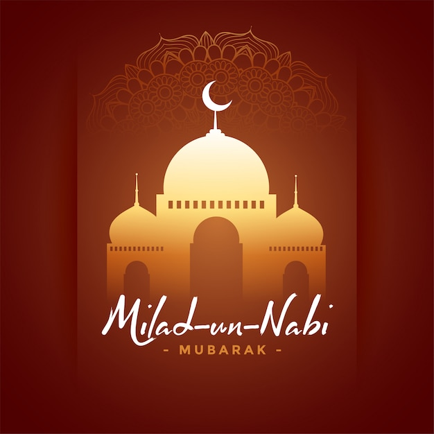 Happy milad un nabi barawafat festival card Free Vector