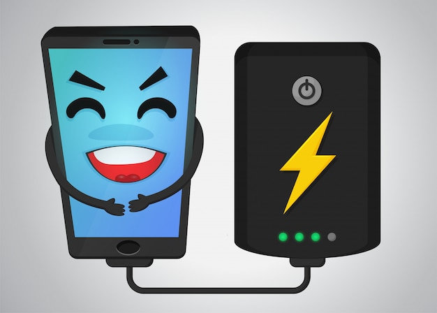 Happy mobile phone cartoon Premium Vector
