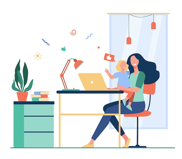 Happy mom combining freelance work and motherhood. woman sitting at workplace at home and holding child in arms. flat vector illustration for freelancer, mother, family and career concept Free Vector