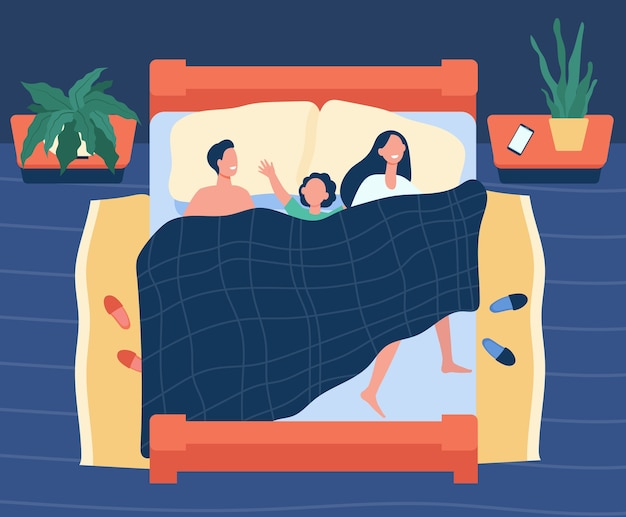 Happy mom, dad and kid sleeping together isolated flat illustration. Free Vector