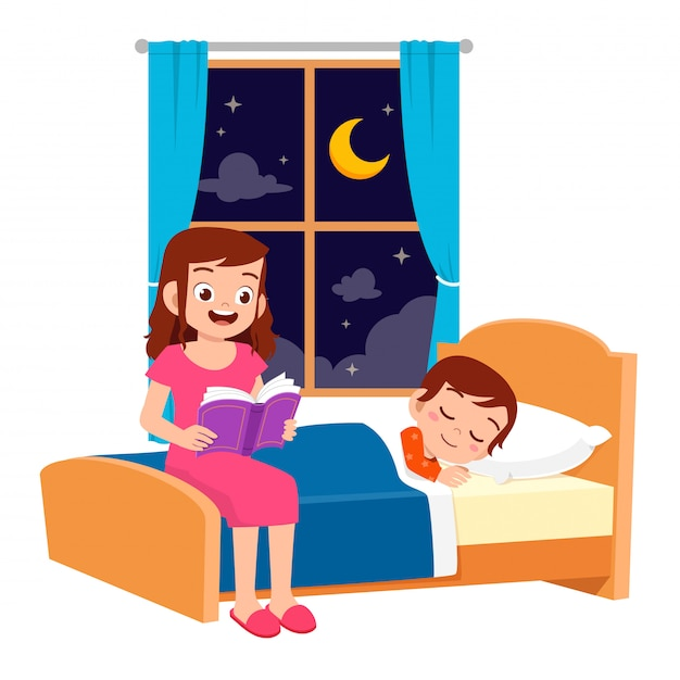 Happy mom tell story in bed room to son Premium Vector