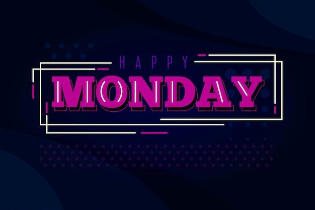線と点で幸せな月曜日の背景 Premiumベクター