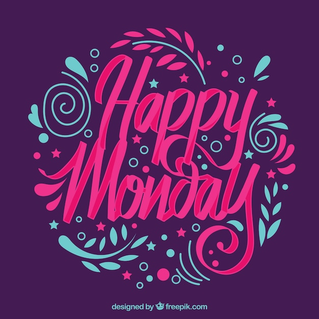 Happy monday, lettering Free Vector