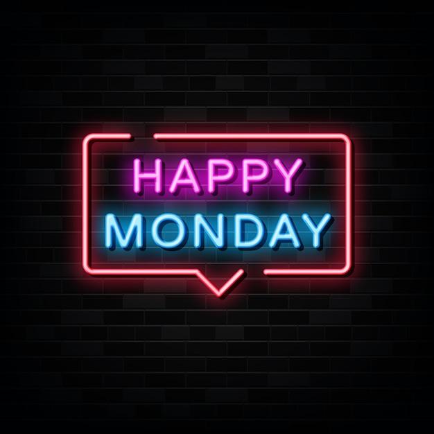 Happy monday  neon signs vector. design template neon style Premium Vector