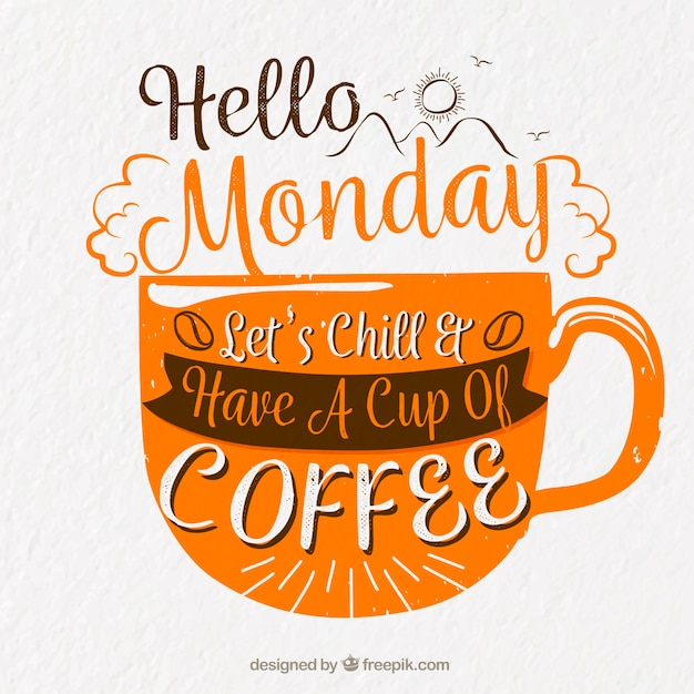 Happy monday, orange letters with a cup of coffee Free Vector