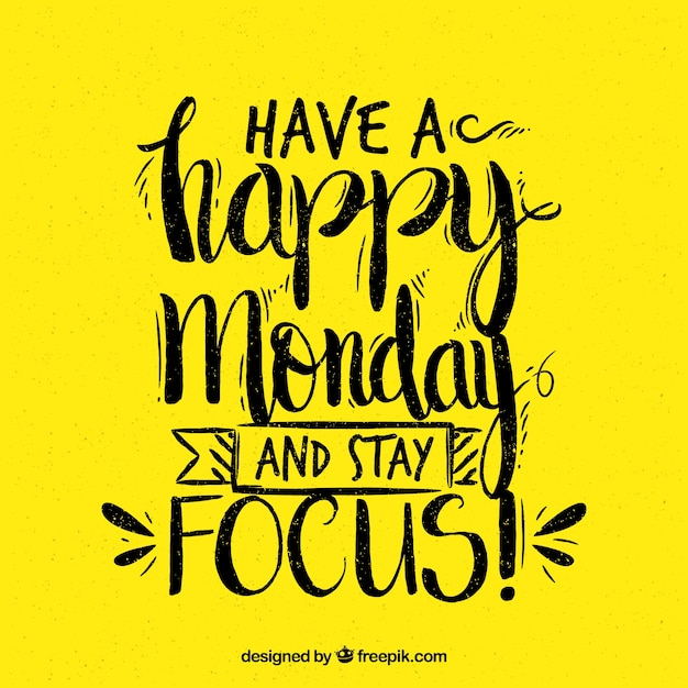 Happy Monday With Yellow Background Vector Free Download