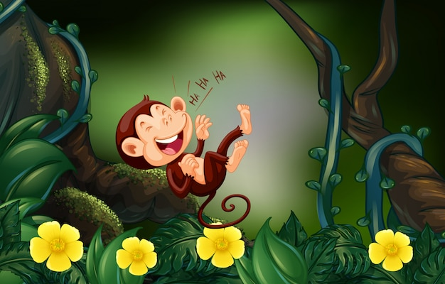 Happy monkey in the deep forest Premium Vector