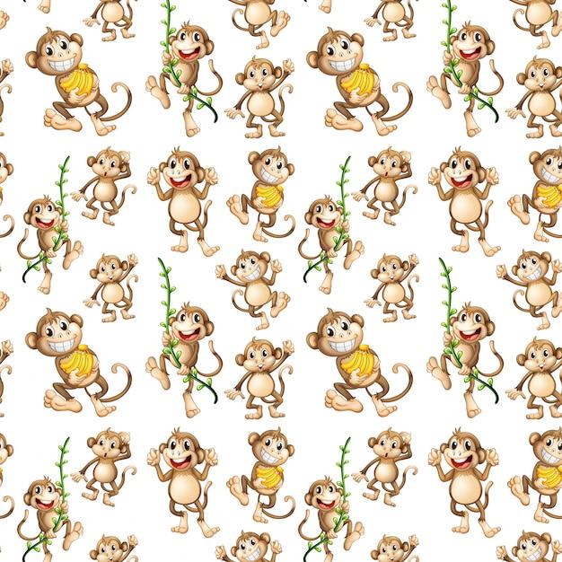 Happy monkey seamless pattern Free Vector