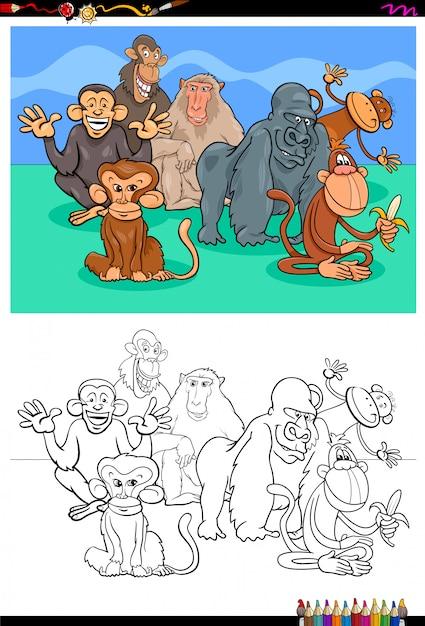 Happy monkeys characters group color book Premium Vector