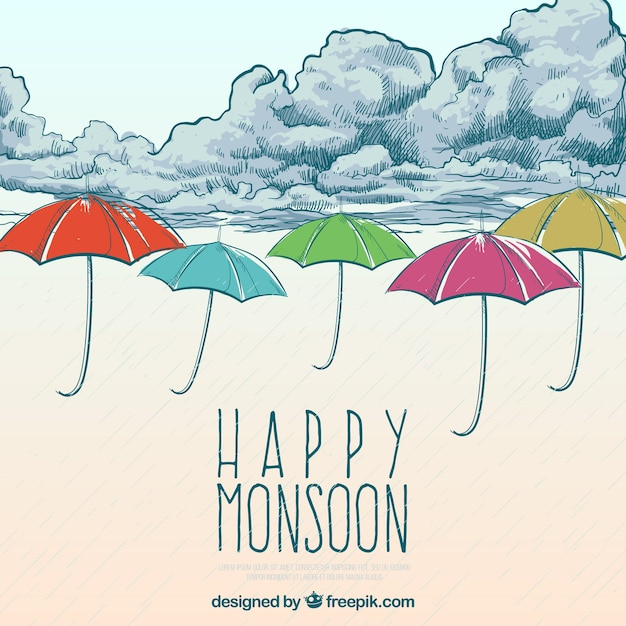 Happy monsoon background with clouds and hand drawn umbrella