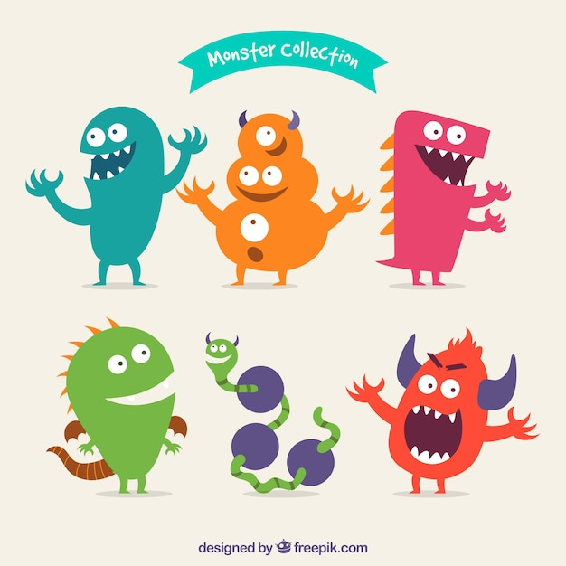 Happy monster pack Free Vector