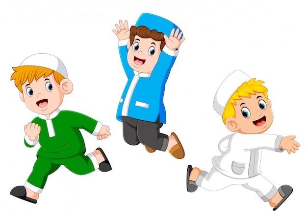Happy moslem kids Premium Vector