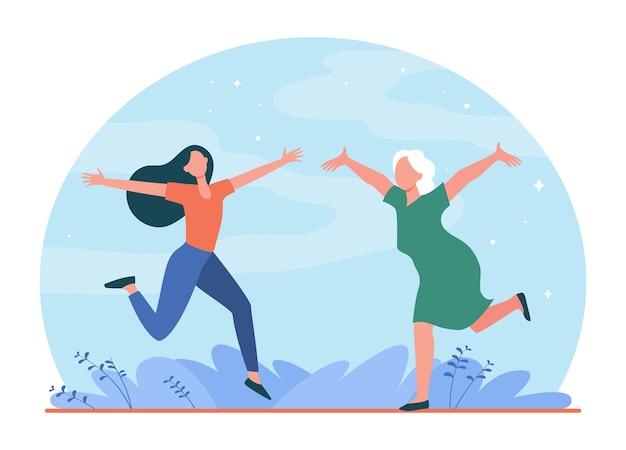 행복 한 엄마와 딸 야외 모임입니다. 두 팔을 벌려 평면 일러스트와 함께 회의 수석 및 젊은 여자. 무료 벡터
