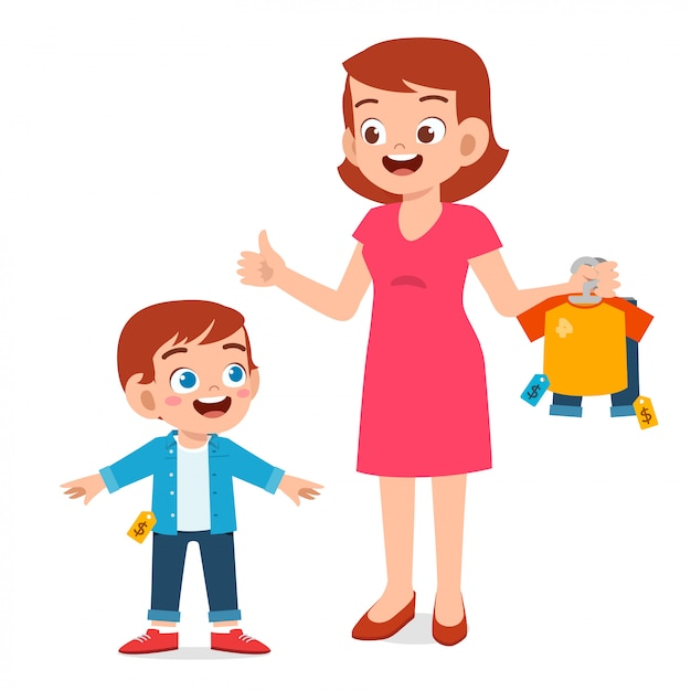 Premium Vector | Happy mother buy clothes for her kid