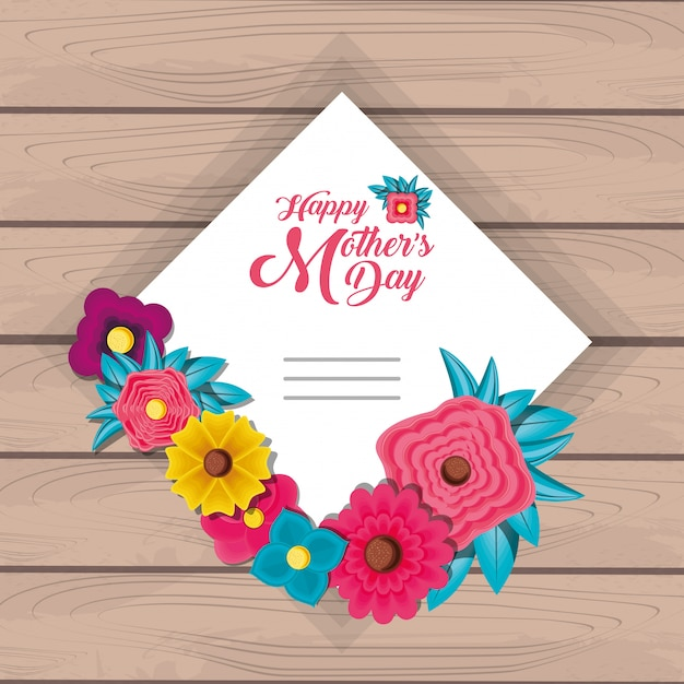 Happy mother day card with flowers and frame square Premium Vector